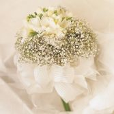 WINTER BOUQUET, FREESIA, BABIES BREATH, BANKED WITH LOOPS OF SHEER RIBBON WEDDING BOUQUET/YOU CAN ALSO USE WHITE DAISIES