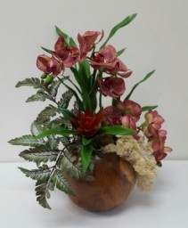wood Vase Orchid Commecial and Residencial