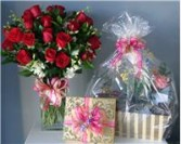 Wow Factor Package -Roses, Gift Basket, Chocolates