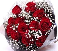 Wrapped Red Roses Bouquet  One Dozen 50&60 Cm Long Stem Red Roses Freedom With Baby's Breath & Assorted Greens