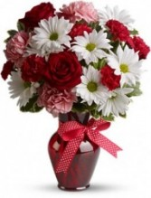 X's and O's Valentine Vased Bouquet