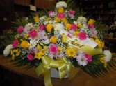 Yellow and Pink Mix (TB 13) Funeral Basket
