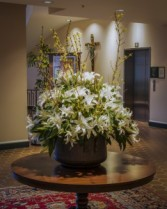 White Lilies with Yellow Forsythia Urn