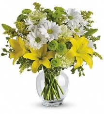 Yellow Lily and Daisy Bouquet Spring Flowers