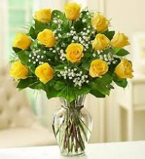 Yellow Roses Arranged in vase