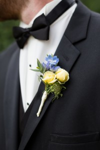 Yellow Spray Roses and Delphinium Boutonniere