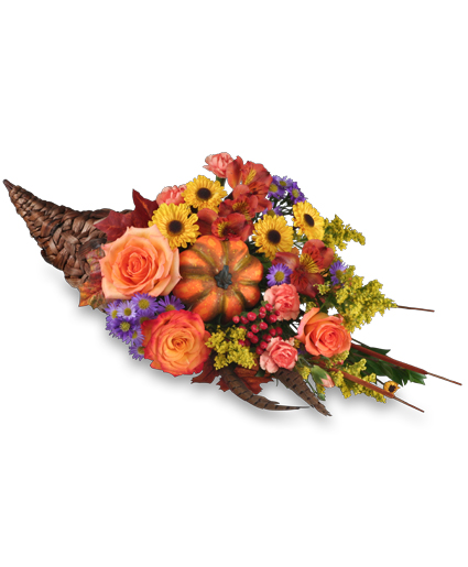 Cornucopia centerpiece thanksgiving arrangement in